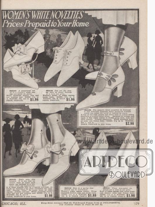 """Doppelseite mit den neuesten sommerlichen Damenschuhen zu günstigen Preisen aus weißem Canvas (Leinen). Das Angebot besteht aus T-, Kreuz- und Einspangenschuhen (drei Modelle), einem Paar Kolonialpumps, zwei Oxfords, einem Paar """"Egyptian ankle pumps"""" und sechs schlichten Pumps mit oder ohne Zierschleifen. Perforationen, Stickereien und unaufdringliche Strassperlenapplikationen dienen als Ornament. Louis XIV und kubanische Absätze dominieren."""