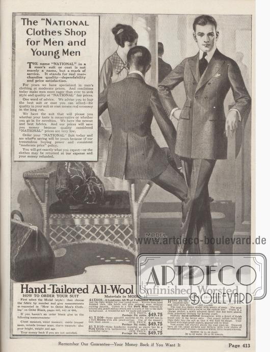 """""""Die 'National' Abteilung für Herren und junge Männer"""" und """"Handgefertigt und aus reiner, ungesäumter Kammwolle"""" (engl. """"The 'National' Clothes Shop for Men and Young Men"""" und """"Hand-Tailored All-Wool Unfinished Worsted"""").  Modell 14: Doppelreihiger Sakkoanzug zum Preis von 49,95 Dollar für junge Männer und Herren, die gerne neue modische Akzente bevorzugen. Der Straßen- und Geschäftsanzug ist wahlweise bestellbar in Dunkelblauer, ungesäumter Kammwolle mit hellen Nadelstreifen (41X508), demselben Material in Dunkelbraun (41X509) oder Dunkelgrün (41X510). Sakko mit hervorgehobener, starker Brust, steigenden Revers, weitem, abstehend gearbeitetem Schoß und durch Abnäher betonter Taille. Hohes, blindes und auseinander stehendes Knopfpaar und eine kleine Wechselgeldtasche sind die neuesten modischen Details. Mit Alpaka-Wolle gefüttertes Modell. Passende Weste sowie Hose, mit oder ohne Hosenaufschläge je nach Wahl."""
