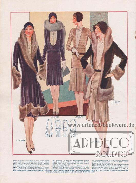4184: Eleganter Promenadenmantel aus prunefarbenem Samt, durch das Kleid J 4185 zum Complet ergänzt. Unten tiefe Glockenfalten. Der modefarbene Pelzbesatz hebt sich wirkungsvoll ab. 4185: Nachmittagskleid aus prunefarbenem Woll-Georgette, passend zum Mantel J 4184. Den Faltenrock ergänzt eine Hüftpasse. Die Weste aus champagnefarbener Seide zeigt Knopfschluß und Biesen. 4186: Sportliches Kleid aus modefarbenem, braun gestreiftem Samt, durch die braune Samtjacke J 4187 zum Complet ergänzt. Der Einsatz mit Stehkragen ist aus modefarbenem Crêpe de Chine gearbeitet. Wildledergürtel. 4187: Flotte braune Samtjacke, die die Ergänzung des Kleides J 4186 bildet. Flotter hochstehender Kragen. Verschlußlose, gerade Form, reich mit Pelz ausgestattet.