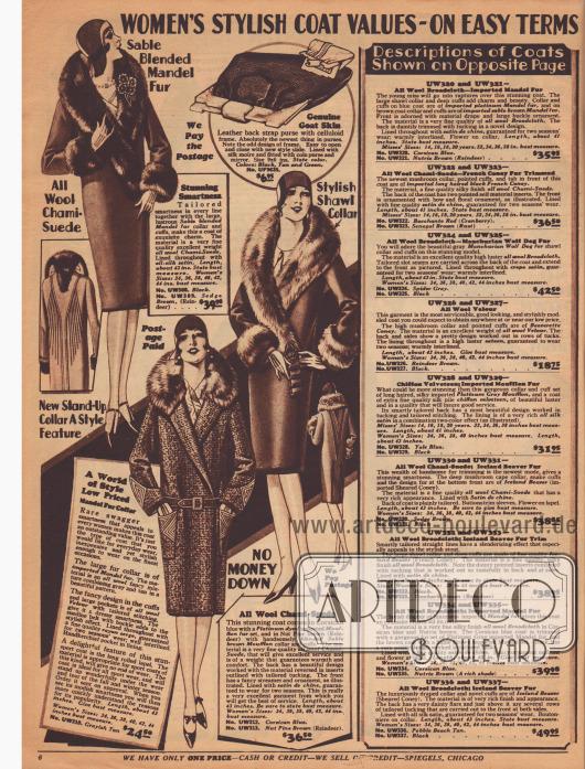 """""""Elegante, hochwertige Damenmäntel – Zu günstigen Kreditkonditionen"""" (engl. """"Women's Stylish Coat Values – On Easy Terms""""). Mondäne Herbst- und Wintermäntel aus """"Chami""""-Woll-Velours (oben) mit dekorativen Paspeln im Rücken sowie ein sportlicher Mantel aus Woll-Mischgewebe, der mit Applikationen aus Woll-Velours an Manschetten und Taschen versehen ist. Die Pilz- und Schalkragen sind aus """"Mandel fur"""" (chinesischem Schafsfell) und importiertem Mufflonpelz (Wildschaf) gearbeitet. In der Mitte oben eine Handtasche aus Ziegenleder mit einem Rahmen aus Celluloid. Rechts die ausführlichen Erläuterungen der Mäntel auf der gegenüberliegenden Farbseite 7."""