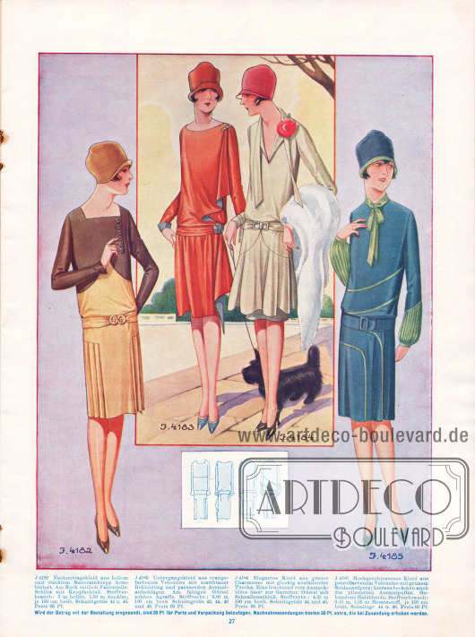 4182: Nachmittagskleid aus hellem und dunklem Marocainkrepp kombiniert. Am Rock seitliche Faltenteile. Schlitz am Ausschnitt mit Knopfschluss. 4183: Übergangskleid aus orangefarbenem Veloutine mit mattblauer Bekleidung und passenden Ärmelaufschlägen. Am faltigen Gürtel schöne Agraffe. 4184: Elegantes Kleid aus grauer Charmeuse mit glockig ausfallender Tunika. Eine leuchtend rote Ansteckblüte dient zur Garnitur. Gürtel mit Schnallenschluss. 4185: Hochgeschlossenes Kleid aus petrolfarbenem Veloutine mit grünem Seidenaufputz; hieraus bestehen auch die plissierten Ärmelpuffe. Gebundene Halsblende.