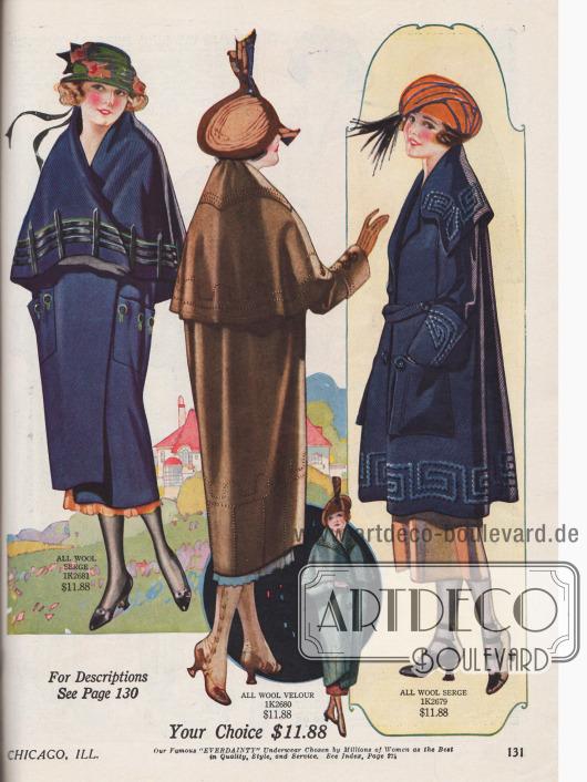 """Zwei Mäntel und ein Umhang für junge Damen und """"Misses"""" (dt.: """"junge Frauen"""" / """"Fräuleins"""") aus Woll-Serge und Woll-Velours. Die Schnitte sind überwurfartig weit geschnitten und mit großen Capes oder breitem Kragen versehen. Dezente Stickereien und große Taschen sind immer noch populär."""