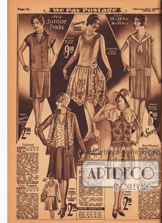 Günstige, einfache Tages- und Sommerkleider, ein zweiteiliges Ensemble sowie ein mondänes Ballkleid für junge Frauen im Alter von 13 bis 19 Jahren. Die drei kurzärmeligen Sommerkleider sind aus importiertem Seiden-Pongee, Seiden Krepp und Organdy. Das Ensemble (unten links) ist aus Leinen, wobei die Bluse und der passende Schal aus gemustertem, hellen Pikee sind. Das Abendkleid (oben Mitte) für schwungvolle Tanzveranstaltungen mit hoher Taillierung ist aus Seiden-Taft. Die Taille ist durch feine Fältchen und Reihenziehung markiert, der Rock von Hand bemalt.