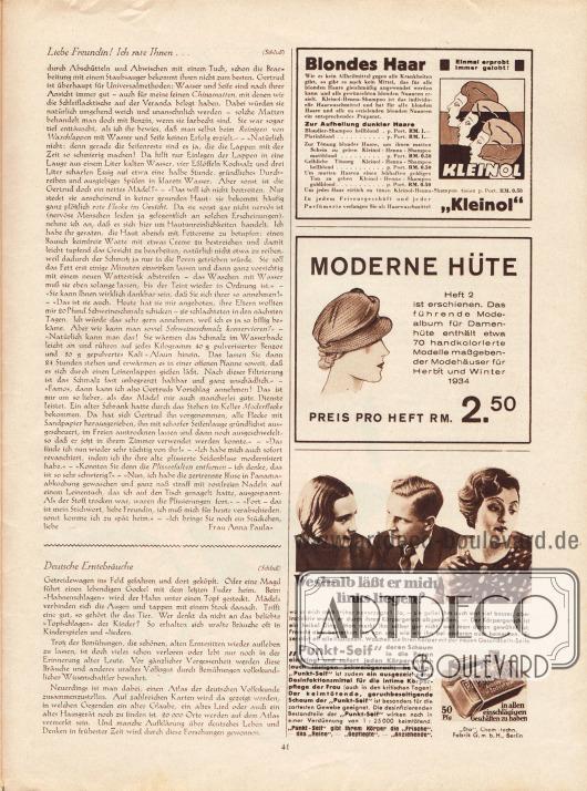 """Artikel: Paula, Anna, Liebe Freundin! Ich rate Ihnen...; Zehden, Melitta, Deutsche Erntebräuche. Werbung: """"Kleinol"""" Haarwaschmittel und Tönung (Kleinol-Henna-Shampoo) speziell für blondes Haar; Verlag Gustav Lyon, Saison Ausgabe """"Moderne Hüte"""" für Herbst und Winter 1934; """"Punkt-Seif"""" Desinfektionsmittel und gegen Körpergeruch, """"Eta"""" Chem.-techn. Fabrik GmbH, Berlin."""