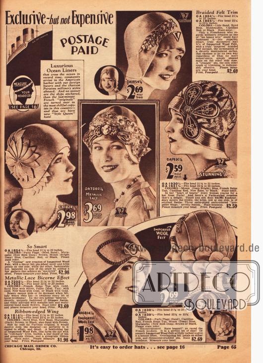 Importierte Damenhüte aus Wollfilz und Satin. Spitze aus Metallfäden, blüten- und propellerartige Ornamente, kleine Broschen, Paspeln und Ripsbänder dienen als Aufputz für die einzelnen Hüte und Kappen.