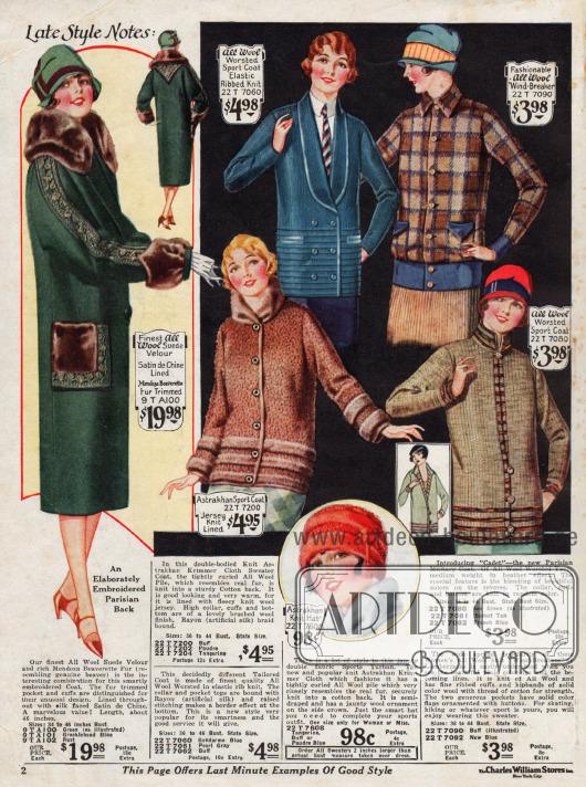 Jacken aus gerippter Wolle (Jacke in blau), Woll-Veloursleder und reinen Wollstoffen sowie eine gestrickte Mütze (unten Mitte) werden hier präsentiert. Ein grüner Mantel aus Woll-Veloursleder und Bieberpelzbesatz befindet sich links.
