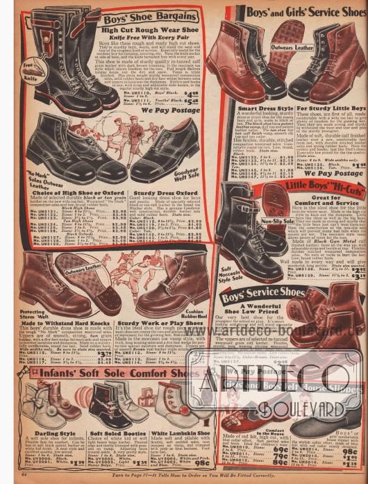Arbeits-, Sport- und Freizeitschuhe für Kinder, aber vor allem für Jungen bis zum Alter von etwa 10 Jahren, Filzpantoffeln und Hausslipper für Kinder (unten rechts) sowie Schuhe für Kleinkinder bis etwa 4 Jahre. Die Kinderschuhe (Halbschuhe, Stiefeletten und ein Stiefel) oben sind aus genarbten Ledersorten, hauptsächlich Rindsleder. Einige Modelle zeigen Lochlinienverzierungen und Perforationen oder die Mokassin-Rundnaht. Die Schuhe für Kleinkinder unten links sind aus zarten Chevreauledern (Ziegenledern) und besitzen sehr weiche Sohlen.