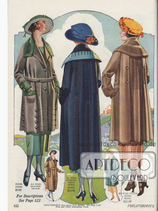 Zwei Sportmäntel aus Woll-Velours und ein Mantel aus Woll-Serge für Frauen. Ins Auge fallen die linearen Panelstickereien, die kontrastierend verwendeten Stoffe in unterschiedlichen Farben, die überlappenden Kragen und die reiche Verwendung von Zierknöpfen.