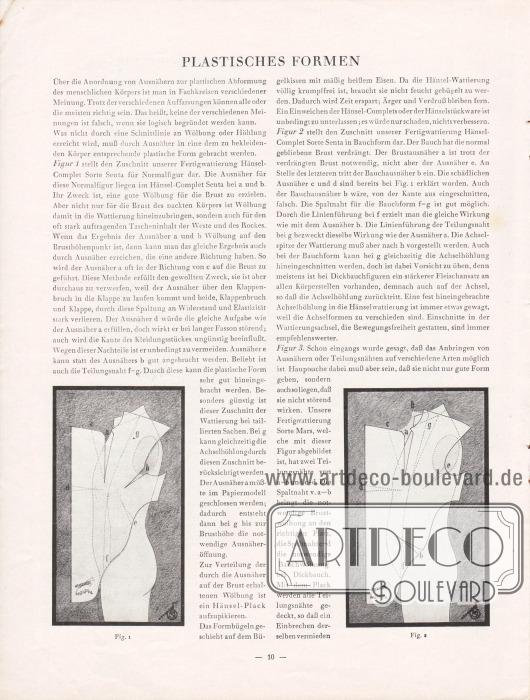 Artikel: O.V., Plastisches Formen. Der Artikel wird von zwei Abbildungen flankiert, die den Schnitt des Sakkos, die Formung und die zu setzenden Abnäher zeigen.