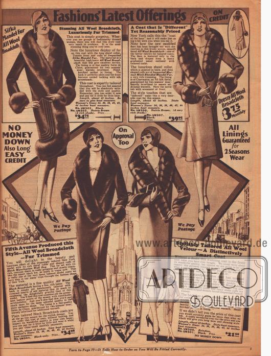 Exquisite Damenmäntel aus reinen Wollbreitgeweben und Woll-Velours zu Preisen von 21,50 bis 39,95 Dollar. Die großzügigen Pelzbesätze an Ärmeln und Kragen sind aus Nerz, mandschurischem Wolf oder französischem Kaninchen. Anders als die geradlinigen V-Schnitte der anderen Mäntel, zeigt das Modell rechts oben einen glockigen Faltenwurf, der das neuste Charakteristikum der Mode im Herbst und Winter 1929-30 darstellt.