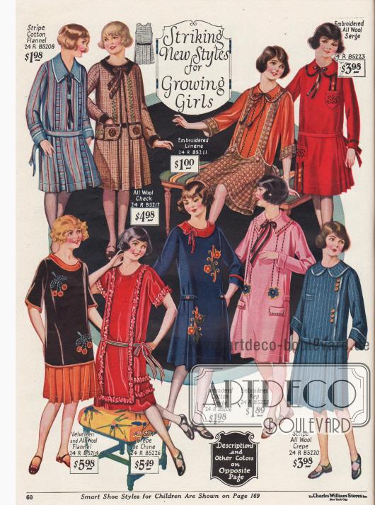 """""""Bemerkenswerte neue Kleider für heranwachsende Mädchen""""Die Kleiderstoffe sind Baumwoll-Flanell, Samt, Wolle, Chrêpe de Chine, besticktes Baumwoll-Serge und Leinen sowie Woll-Krepp."""