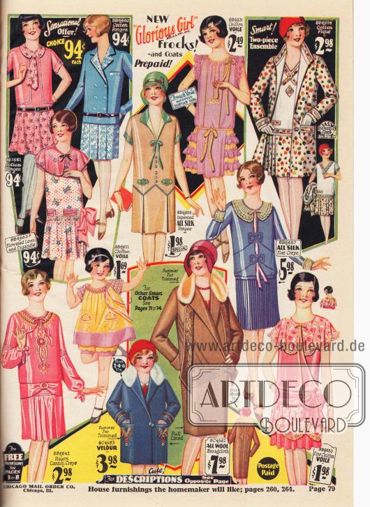 """Sechs Tages- und Schulkleider der Chicago Mail Order Marke """"Glorious Girl"""" für Mädchen von 3 bis 14 Jahre aus Baumwoll-Pongee, Rayon Krepp, Organdy, Seide. Außerdem zwei Festkleider aus Chiffon Schleierstoff sowie ein zweiteiliges Ensemble aus gemustertem Baumwoll-Pikee (oben rechts). Unten befinden sich ein weit geschnittenes Kleidchen (engl. """"Bloomer Dress"""") aus Chiffon-Schleierstoff für Mädchen bis 6 Jahre sowie zwei Mäntel aus Velours und Woll-Breitgewebe für Mädchen verschiedenen Alters."""