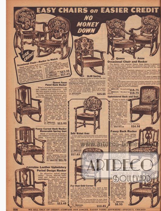 """""""Schlichte Stühle zu bequemen Raten – Anzahlung unnötig"""". Wahlweise kann hier zwischen gepolsterten Stühlen oder der gleichen Ausführung als Schaukelstuhl gewählt werden. Auch hier herrschen die frühen amerikanischen Kolonialstile vor. Die verwendeten Materialien sind Mahagoni und amerikanisches Walnussholz. Die Bezugstoffe sind überwiegend Velours."""