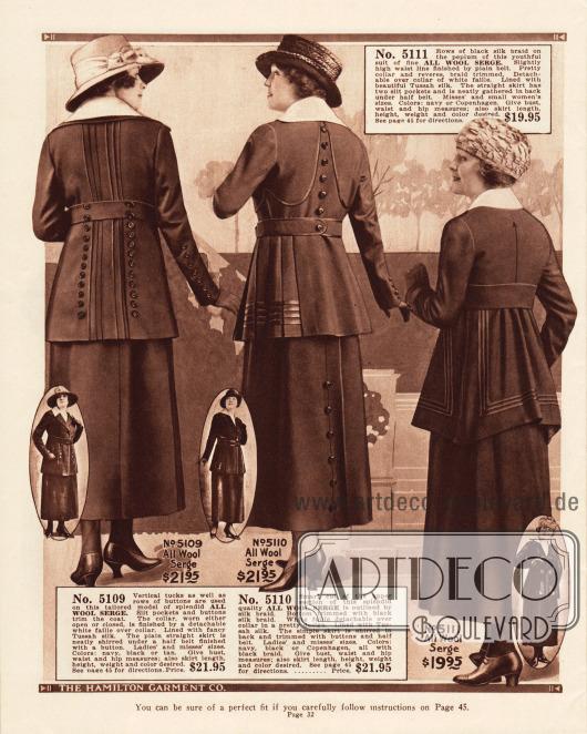 Kostüme für Frauen aus reinem Woll-Serge und mit weißen Kragen aus Faille (grobem Seidenstoff). Auch hier zeigen sich die beliebten Zierknopfleisten, Tressen und tiefe Plisseefalten in der Rückenpartie (erstes Modell).