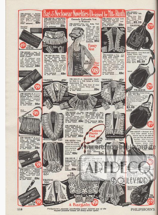 """""""Taschen- & Halsbekleidungs-Neuheiten – Entworfen von Mlle Ruth"""" (engl. """"Bag & Neckwear Novelties – Designed by Mlle. Ruth""""). Im mittleren Seitenbereich befinden sich Kragen-, Jabot-, Ärmel- sowie passende Ärmelaufschlaggarnituren zum Nähen von Kleidung. Darunter befindet sich auch ein Smokingkragen (engl. """"Tuxedo collar""""). Die Garnituren sind aus Organdy, Filetspitze, Cluny Spitze, Netzgewebe, Seiden-Crêpe de Chine oder Georgette. Einzelne Modelle sind bestickt, mit Spitzenkante oder Plisseerüsche versehen. An den Seitenrändern werden Geldbörsen und Handtaschen (links) oder Rahmenhandtaschen sowie Kosmetikbeutel (rechts) angeboten. Die Geldbörsen und Taschen sind aus genarbtem oder meliertem Leder. Die Beutel und Rahmenhandtaschen sind aus Seide, Samt, Seiden-Popeline oder Moiré und sind teilweise bestickt oder mit Quasten verschönt."""