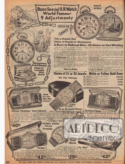 """""""Bunn Special R[ail]R[oad] Watch – World Famous – 9 Adjustments""""). Oben eine besondere Taschenuhr aus Gold oder wahlweise Weißgold für Männer mit dem Produktnamen """"Bunn Special"""" von der Firma Illinois Watch Factory, die mit nur einem Aufziehen 60 Stunden lang funktioniert. Die Taschenuhr ist in vier Ausführungen für 60,- bis 75,- Dollar erhältlich und wurde einschließlich der gezeigten Kette geliefert. Wahlweise mit Montgomery Ziffernblatt lieferbar (s. Abb.). Im unteren Seitenbereich befinden sich Armbanduhren mit breiten Lederbändern für Herren, ebenfalls hergestellt von der Illinois Watch Company. Die Gehäuse sind vergoldet und teilweise mit kleinen Rubinen und Saphiren bestückt und besitzen lumineszierende Ziffernblätter und Zeiger."""