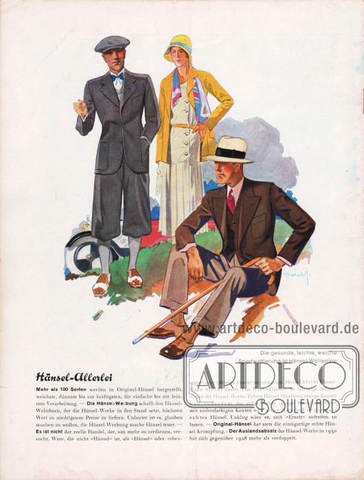 Sportlich leicht und luftdurchlässige Freizeitkleidung (links ein Knickerbockeranzug) mit angenehmer Sportwattierung sorgt für guten Tragekomfort und Bewegungsfreiheit.Zeichnung: Harald Schwerdtfeger.