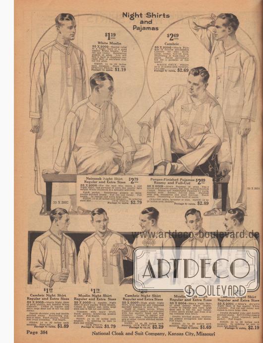 """""""Nachthemden und Pyjamas"""" (engl. """"Night Shirts and Pajamas""""). Nacht- und Schlafwäsche aus weißem Musselin, Batist, Nainsook (leichtes Musselin, Baumwollstoff), Pongee (Japanseide) für junge Männer und Herren. Die langen und weitgeschnittenen Nachthemden sind mit Brusttaschen ausgestattet und besitzen Frontleisten mit Perlknöpfen. Einer der zweiteiligen Pyjamas ist mit Posamentenverschlüssen (engl. """"frogs"""") versehen."""