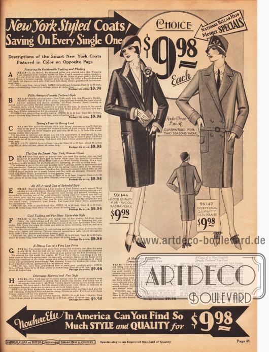 Zwei Frühjahrsmäntel für Frauen für 9,98 Dollar aus Woll-Kasha und weich angerautem Wollstoff. Besonders der erste Mantel zeigt interessant eingearbeitete Taschen. Links befinden sich die Beschreibungen für die Modelle auf der vorangegangenen Farbseite 60.