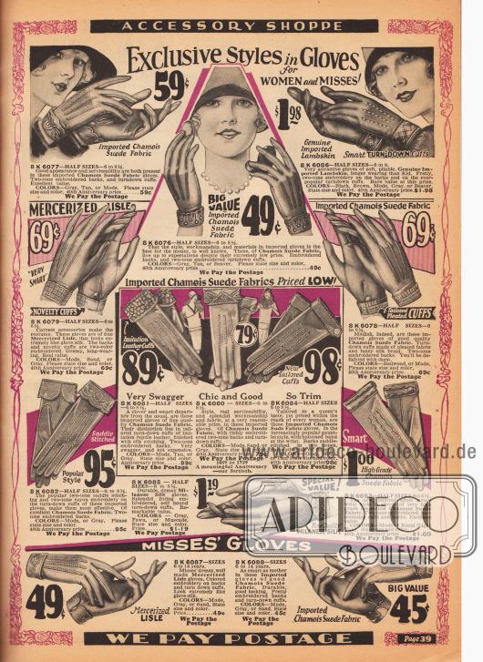 """Kleidsame (engl. """"Very Swagger"""") und teilweise importierte Damen- und Mädchenhandschuhe aus Gämsbockleder (Sämischleder), Veloursleder, Lammleder, merzerisiertem Baumwollgarnen und """"Milanese""""-Seide. Die Handrücken sind Nahtverstärkt und die Ärmelaufschläge ornamental und dekorativ bestickt."""