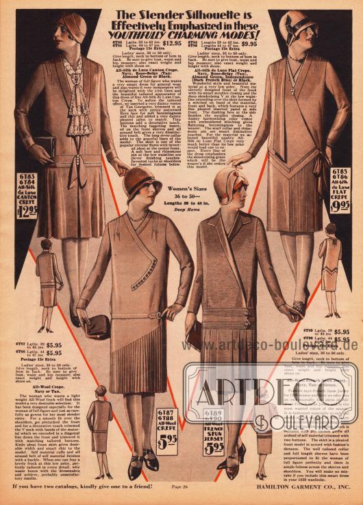 """""""Die schlanke Linie wird besonders wirkungsvoll in diesen jugendlich entzückenden Modellen betont"""" (engl. """"The Slender Silhouette is Effectively Emphasized in these YOUTHFULLY CHARMING MODES!""""). Elegante Kleider aus Seiden-Kanton Krepp, Woll-Krepp, Woll-Jersey und Seiden Krepp für stärker gebaute Damen. Zwei Röcke sind mit plissiertem Stoff verarbeitet, die anderen beiden Röcke zeigen Quetsch- oder eine große Kellerfalte. Biesen, Schleifen, Knöpfe oder auch eine Brosche in sehr dezent unauffälligen Ausführungen verschönern die Kleider. Ein Kleid zeigt zudem einen Georgette-Einsatz mit Spitzenjabot."""