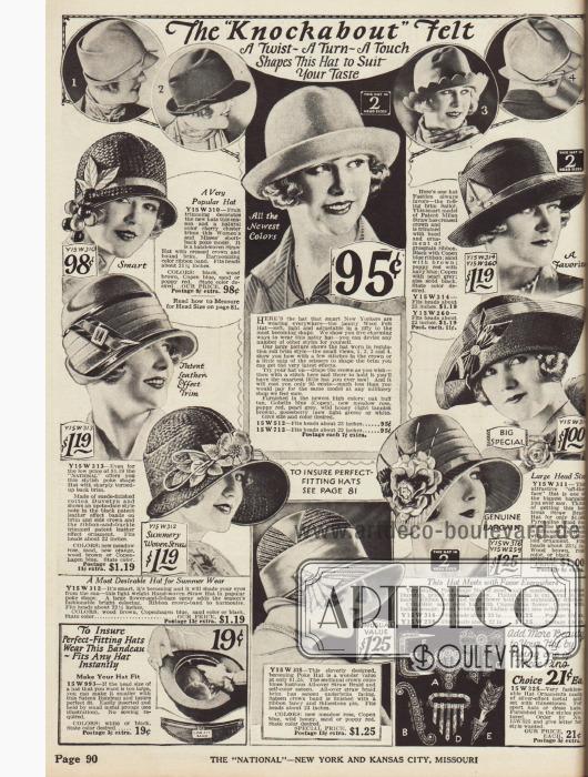 """""""Knockabout"""" Hüte oben und Hüte im """"Pocke Bonnet"""" Stil halbrund angeordnet."""