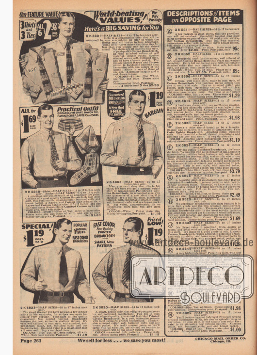 """""""Weltmeisterliche Werte!"""" (engl. """"World-beating Values!""""). Feine Anzughemden aus unifarbenen oder gestreiften Baumwoll-Breitgewebe und gekrumpftem Baumwoll-Breitgewebe für Herren. Oben rechts werden drei Hemden mit drei passenden Krawatten aus Rayon und Baumwolle zum Preis von 2,98 Dollar angeboten. In der Mitte links befindet sich ein Angebot bestehend aus einem Hemd mit angeschnittenem Kragen und Brusttasche, einer Krawatte, einem Stofftaschentusch, einem Paar gemusterter Seidensocken und Strumpfbandhaltern aus Gummiband zum günstigen Preis von 1,69 Dollar."""