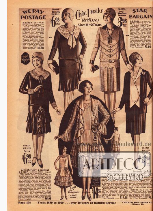Tageskleider, Nachmittagskleider, ein Ensemble sowie ein Abendensemble für junge Frauen zwischen 14 und 20 Jahre. Die Kleider bestehen aus Seiden-Satin, Seiden Krepp mit Spitze sowie Woll-Kaschmir. Das jugendliche Ensemble auf der rechten Seite für 4,98 Dollar besteht aus Rayon Krepp. Das Abendensemble, bestehend aus Jacke und Abendkleid, ist aus Seiden-Georgette hergestellt und ist mit reichlich Rayon-Spitze versehen. Der rückwärtig verlängerter Saum, die Volants und eine Ansteckblüte geben dem Modell eine verspielte Note.