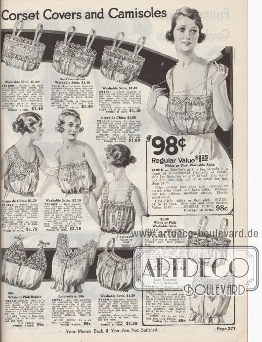 """""""Korsett-Schoner und Damenuntertaillen"""" (engl. """"Corset Covers and Camisoles""""). Frauenunterwäsche. Leichte Damenuntertaillen mit schmalen Trägern sowie Korsett-Schoner aus Wasch-Satin, Seiden-Crêpe de Chine, Lingerie Batist, japanischem Satin oder Nainsook (leichter Musselin, Baumwollstoff). Die Wäsche ist in den Farben Weiß oder Rosa erhältlich. Modelle mit großen Einsätzen aus Netzgeweben, Spitze und mit reichen, von Hand ausgeführten Stickereien sowie elastischen Taillenbündchen. Viele Wäschestücke mit Frontöffnung und zierlichen Bandschleifen."""