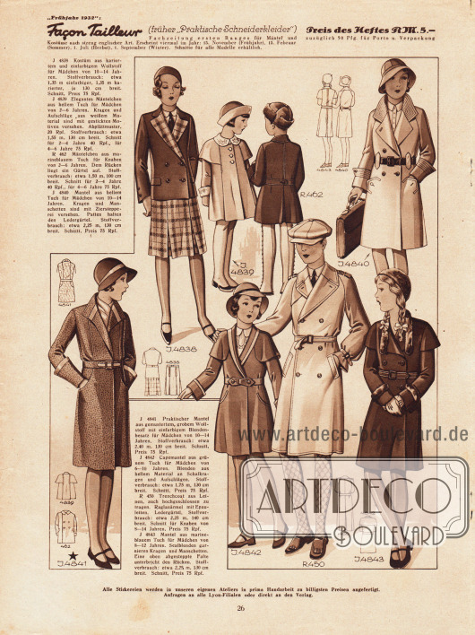 4838: Kostüm aus kariertem und einfarbigem Wollstoff für Mädchen von 10 bis 14 Jahren.4839: Elegantes Mäntelchen aus hellem Tuch für Mädchen von 2 bis 6 Jahren.R 462: Mäntelchen aus marineblauem Tuch für 2 bis 6-jährige Knaben.4840: Mantel aus hellem Tuch mit Ziersteppereien für Mädchen von 10 bis 14 Jahren.4841: Mantel aus gemustertem, grobem Wollstoff mit Blendenbesatz für 10 bis 14-jährige Mädchen.4842: Capemantel aus grünem Tuch für Mädchen von 6 bis 10 Jahren.R 450: Trenchcoat aus Leinen mit Raglanärmeln und Epauletten für 8 bis 14-jährige Jungen.4843: Mantel aus marineblauem Tuch und Sealblenden für Mädchen von 8 bis 12 Jahren.