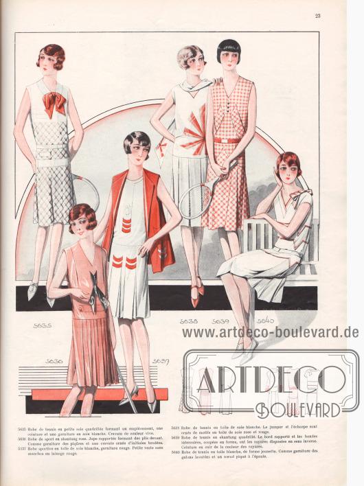5635: Robe de tennis en petite soie quadrillée formant un empiècement, une ceinture et une garniture en soie blanche. Cravate de couleur vive. 5636: Robe de sport en shantung rose. Jupe rapportée forment des plis devant. Comme garniture des piqûres et une cravate ornée d'initiales brodées. 5637: Robe sportive en toile de soie blanche, garniture rouge. Petite veste sans manches en lainage rouge. 5638: Robe de tennis en toile de soie blanche. Le jumper et l'écharpe sont ornés de motifs en toile de soie rose et rouge. 5639: Robe de tennis en shantung quadrillé. Le bord rapporté et les bandes intercalées, coupées en forme, ont les rayures disposées en sens inverse. Ceinture en cuir de la couleur des rayures. 5640: Robe de tennis en toile blanche, de forme jeunette. Comme garniture des galons lavables et un nœud piqué à l'épaule.