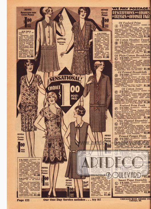 Seite mit sehr günstigen Haushaltskleidern und einfachen Kleidern aus bedruckten und gemusterten Breitgeweben und vor allem Baumwoll-Pongee für nur einen Dollar. Rechts befinden sich die Erklärungen für die Kleider auf der folgenden Seite 123.