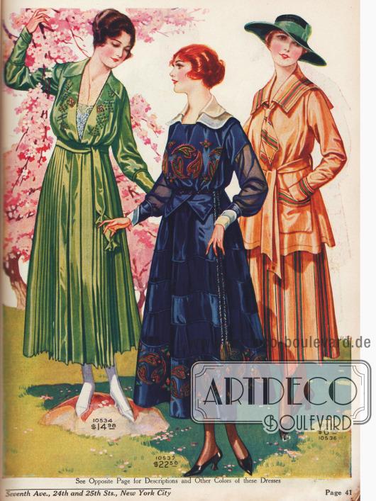 Erlesene Damenkleider aus Seiden Crêpe de Chine, Seiden-Baumwolle und Taft.