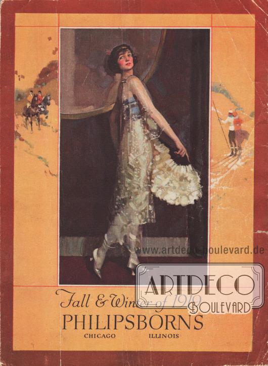 Cover bzw. Titelseite des Herbst/Winter Versandhauskatalogs der Firma Philipsborn's aus Chicago, Illinois, USA von 1919.  Die Titelseite zeigt die US-amerikanische Gesellschaftstänzerin Irene Castle (1893-1969).  Foto: Ira Lawrence Hill (1877-1947), New York City.