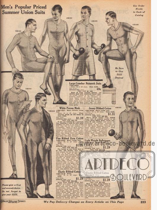 Leichte Hemdhosen für den Sommer mit Frontverschluss und Gesäßklappe und mit unterschiedlichen Arm- und Beinlängen für junge Männer und Herren. Die Hemdhosen sind aus porigem Gewebe mit groben Maschen, kariertem Nainsook (leichter Baumwollmusselin) sowie hauptsächlich aus gerippter Baumwolle.