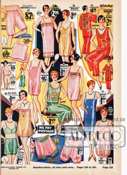 Unterwäsche für Frauen und junge Damen aus Rayon, Seiden Crêpe de Chine, Seiden-Rayon und teilweise mit Spitzengarnierung. Zur Auswahl stehen Pumphöschen (A, R, S), Unterhemden (B, F, N), einteilige Bustier-Pumphöschen Kombinationen (C, J, K, L), Pyjamas (D, E), zweiteilige Hemdhöschen Kombinationen (G und H), Nachthemden (M), zweiteilige Bustier-Pumphöschen Kombinationen (P) sowie eine zweiteilige Bustier-Höschen Kombination (T).