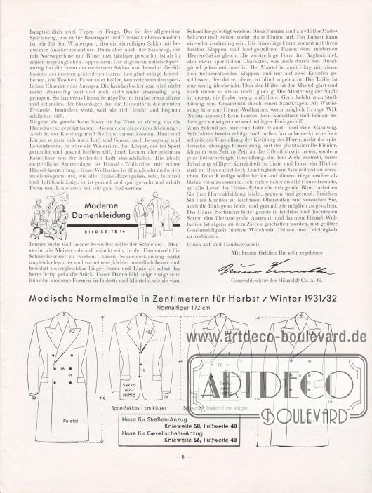 """Artikel: Henschke, Bruno (Geschäftsführer), Modisches für Herbst und Winter 1931/32. Den Hänsel-Freunden für ihre Praxis. Im unteren Bilddrittel befinden sich die """"modischen Normalmaße in Zentimetern für Herbst/Winter 1931/32"""" für die männliche """"Normalfigur"""" von 172 cm."""