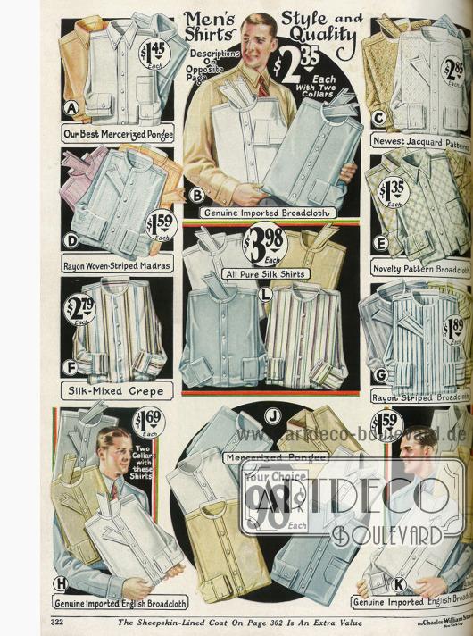 Anzughemden aus Seidenstoffen, Breitgeweben, Rayon und merzerisiertem Pongee.