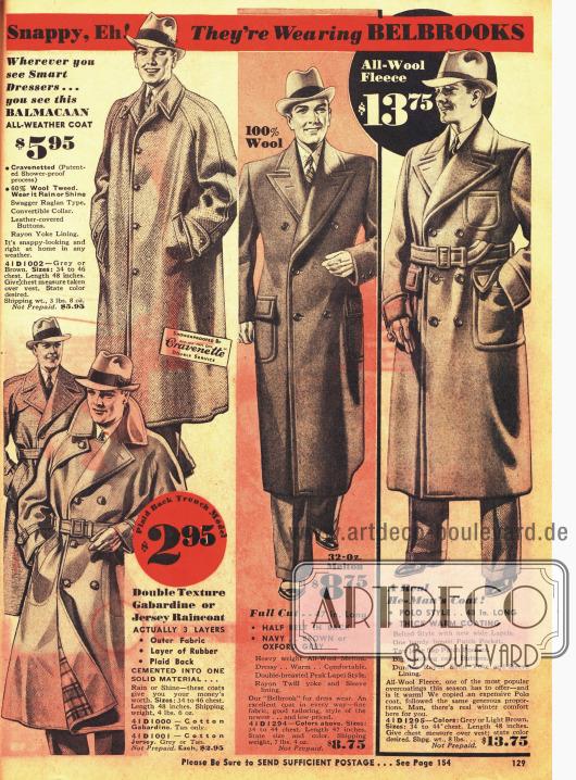 """""""Flotte"""" Anzüge, Mäntel und ein Regenmantel für den gut angezogenen Mann der Marke Belbrook."""