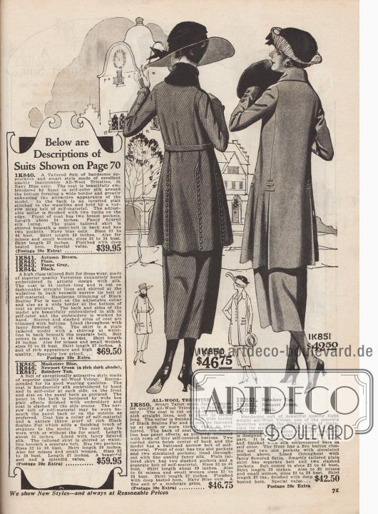 1K850: Marineblaues Straßenkostüm aus Woll-Trikotine zum Preis von 46,75 Dollar für Damen. Kostümjacke in herrenmäßigem Schnitt mit zwei Pfeilen im Rücken und Paspelierung, die einen Paneel-Effekt erzeugt. Kragen verbrämt mit einem breiten Pelzband aus schwarzem Robbenfell. Knopfgarnitur, bezogen mit dem Kostümstoff. Jacke mit Schlitztaschen sowie zwei kleineren, blinden Taschen. 1K851 / 1K852 / 1K853: Damenkostüm aus Woll-Velours in leichter Stoffqualität für 42,50 Dollar. Modell bestellbar in hellem Rentier-Braun, Newport Grün oder Schwarz. Kostümjacke mit großzügig weit geschnittenem Schoß und eingelassenen Schlitzen, die von schmalen Stoffstreifen in Hüfthöhe gehalten werden. Bunt geblümter Satin als Jackenfutter.