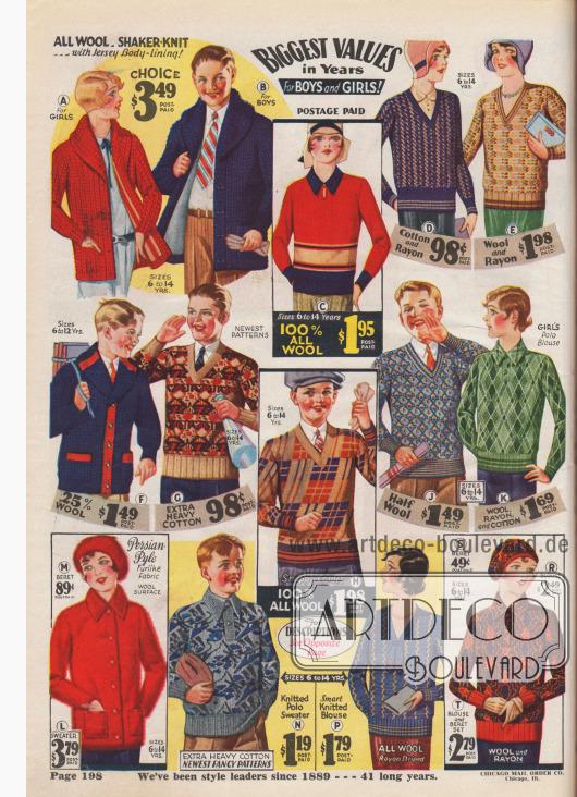 Warme Strickmode für Jungen und Mädchen aus reiner Wolle.