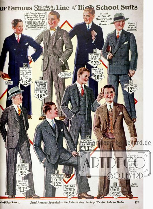 Acht High School Anzüge für junge Männer aus Serge, Kaschmire, Cheviot und Wolle mit passenden Westen oder Pullover.