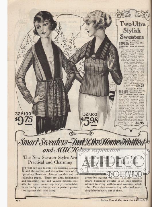 """""""Schöne Pullover – wie selbstgestrickt und VIEL preiswerter. Die neuen Pullover Modelle sind praktisch und ansprechend"""" (engl. """"Smart Sweaters – Just Like Home-Knitted and MUCH less expensive. The New Sweater Styles Are Practical and Charming"""").  """"Zwei ultramodische Pullover"""" (engl. """"Two Ultra Stylish Sweaters""""). 32K100 / 32K101: Gutaussehender, importierter Strickpullover aus weicher, wärmender Zephir-Wolle mit schwarzem Smoking-Kragen (engl. """"Tuxedo reverse collar"""") und heller Kante. Bestellbar in Türkis oder Rosa. Weit gearbeiteter Schoß und aufgeschlagene Ärmel. Seilgürtel mit Quasten. 32K103 / 32K104: Kurzer Stickpullover aus schwerem Kammgarn in elastischer, gerippter Webung. Kurzer, gestreifter Smoking-Kragen mit Pompon-Abschluss."""