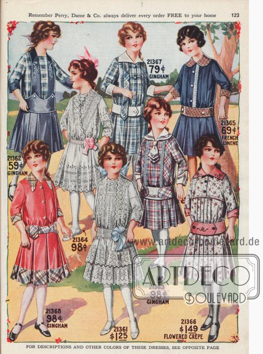 Mädchenkleider mit kurzen Röckchen.