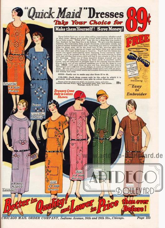 Leinenkleider mit mitgeliefertem Stickgarn zum selber besticken für 89¢. Bestellbar in verschiedenen Kleidergrößen und mit passendem Gürtel.