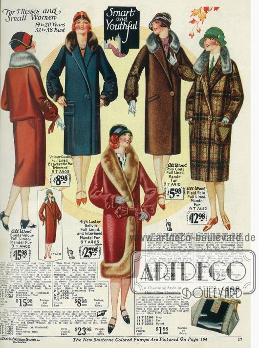 Wintermäntel für junge Damen aus Woll-Veloursleder, Bolivia (Wollstoff) und Polo-Wolle mit Bieberpelzbesatz und Fuchspelzimitat.