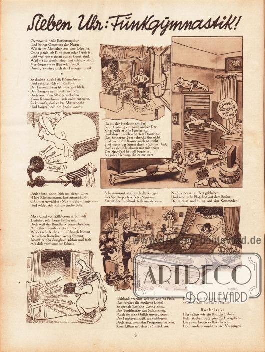 """Lustige Zeichnungen und kurze Reime zum Thema """"Sieben Uhr: Funkgymnastik"""". Illustrationen: Hans Kossatz (1901-1985)."""