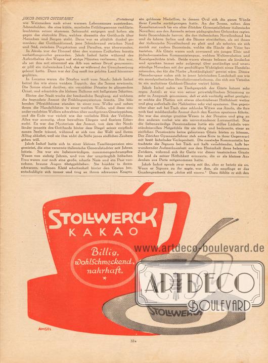Artikel (Novelle):Meyenburg, Leo von, Jakob Imhofs Osterfahrt.Werbung:Stollwerk Kakao.Zeichnung/Gebrauchsgrafik: Amsel.