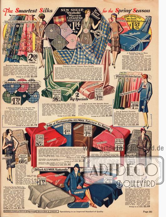 Beste unifarbene, karierte und gemusterte Stoffe zum Schneidern von Kleidern, Abendkleidern, Kostümen und Mänteln. Die Stoffe sind Seiden Krepp, Celanese (synthetische Faser auf Cellulosebasis), Seiden-Taft, Seiden Crêpe de Chine, Seiden-Satin Krepp, Spitze, Woll-Flanell, Woll-Jersey, Woll-Tweed, Woll-Kasha und Woll-Twill-Cord.