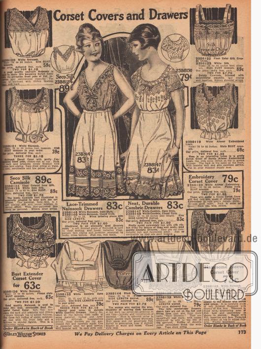 """""""Damenuntertaillen und Schlupfhöschen"""" (engl. """"Corset Cover and Drawers""""). Damenunterwäsche. Damenuntertaillen (engl. """"Corset covers"""") waren zum Tragen über dem Korsett gedacht, um die Oberbekleidung vor den scharfen Drähten des Korsetts zu schützen. Die Untertaillen sind aus Nainsook (leichter Baumwollmusselin), Seiden-Crêpe de Chine, Linon oder Batist und die Schlupfhöschen zudem aus Satin. Von Spitze, Stickereien und Hohlnähten wurde bei fast allen Modellen viel Gebrauch gemacht. Unten links ist eine """"brusterweiternde Damenuntertaille"""" (engl. """"Bust Extender Corset Cover"""") mit Rüschen, Lochstickerei und Valenciennesspitze."""
